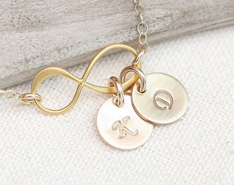 Personalized Infinity Necklace with Initials, Gold Initial Necklace,GOLD Personalized, Monogram Personalized Jewelry, Mothers Jewelry