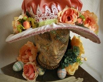 Women's Edwardian Spring Bonnet: Peaches and Cream