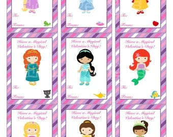 Princess Valentineu0027s Day Cards, Valentineu0027s Day Cards, Disney  Princess,Printable,Instant Download