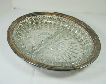 Vintage SILVERPLATE RELISH DISH Divided Glass Insert Tarnished Patina