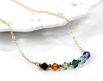 Birthstone Necklace Swarovski Crystal Family Mother Grandmother Gold Bar Pendant Necklace