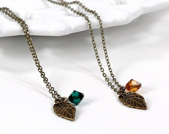 Bridesmaids Necklaces Fall Wedding Antique Brass Leaf Pendant