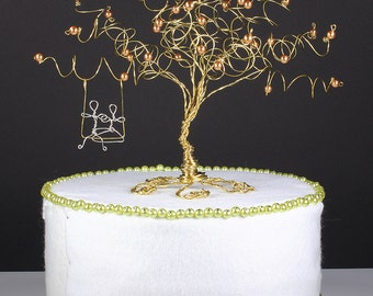 Wedding Cake Topper Custom Wire Tree Sculpture with Couple on a Swing