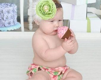Baby Girl Diaper Cover and Headband Set Newborn Photo Prop Birthday Cake Smash Pink Mint Green Brown White Ice Cream Cones OTT Flower