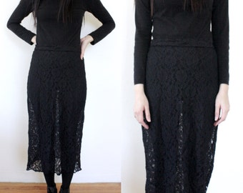 Sheer Black Lace Skirt (Small - Medium)