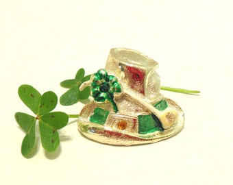 Vintage St. Patrick's Day Rhinestone Brooch Leprechaun Hat Shamrock Gold Green 50's (item 133)