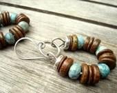 Boho Earrings - Boho Jewelry - Tribal Earrings - Hippy Jewellery - Beaded Hoop Earrings - Brown and Blue Earrings - Rustic Jewelry