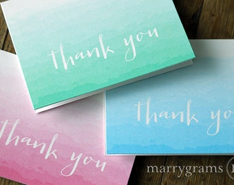 Ombre Thank You Cards - Wedding, Bridal Shower, Thank You Notes - Colorful Fun Watercolor Style Pink, Blue, Turquoise Green (Set of 10) CS11