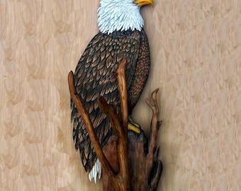 Bald Eagle sculpture, art 28 inch wood carving, Eagle art, Eagle decor, Eagle carving, wooden eagle, animal sculpture, lodge cabin art,