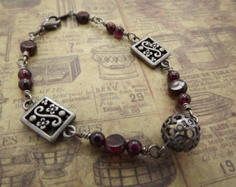 Garnet and Gunmetal Wire Wrap Bracelet