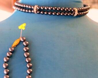 carolee black pearl -rhinestone necklace bracelet and post earrings