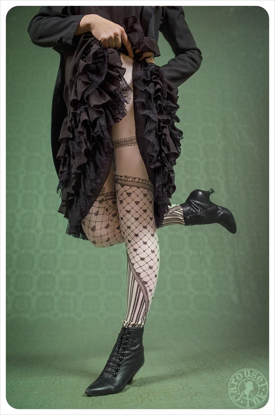 Garter Heart Leggings - Fishnet - Wearable art legging carousel ink steampunk buy now online