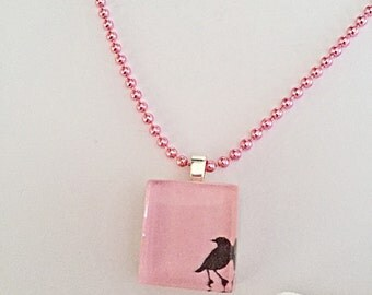 Bird Necklace - Bird Silhouette - Square Pendant - Glass Pendant - Bird Jewelry - Gift For Her - SALE