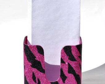 Zebra print brochure holder.  Zebra glitter.  Zebra. Pink Zebra. Bling Brochure Holder.  Glitter. Sparkly. Sparkles. Pink.