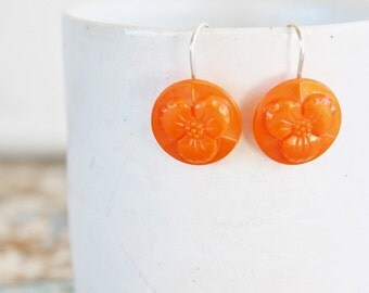 Earring Upcycled Vintage Antique Czech Glass Button Sterling Silver Jewellery Australia Orange Flower