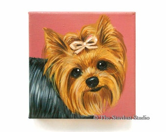 "6x6x0.75"" Custom Dog Portrait / Custom Pet Portrait, Acrylic on Canvas, 1 Pet Close-Up Solid background Original Painting Memorial Yorkie"