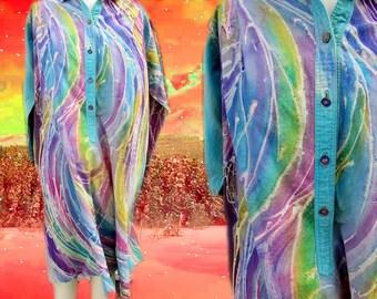 Pastel Tie Dye Baggy Swirly Hippie Psychedelic Dress