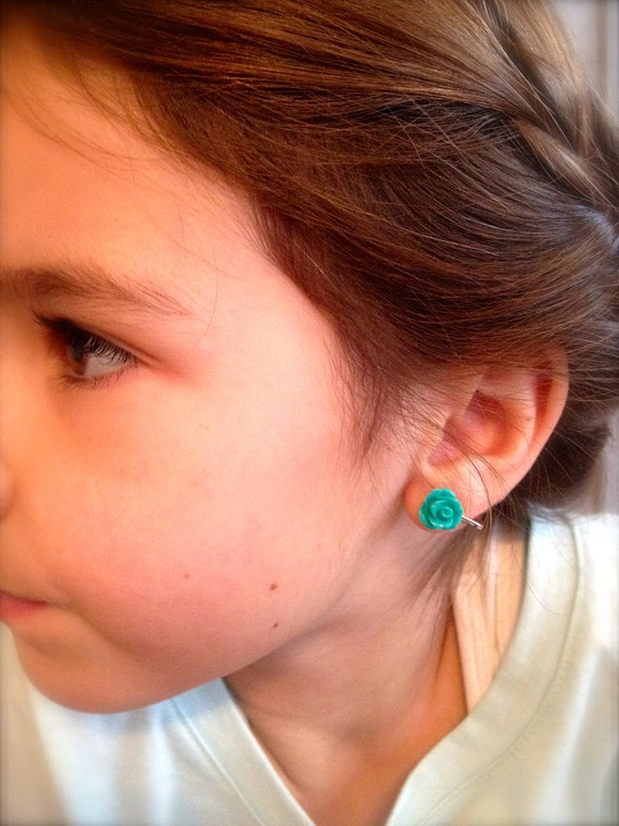 Sweet Rosette Cabochon Earrings-Custom Color-Pierced or Clip-ons-Neon, Pastel, Teens-Pop of Color-Flower Girl-Gift for Her-Summer Fashion
