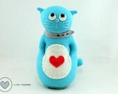 Aqua Cat Sock Doll with watermelon heart by Sewinthemoment perfect as a gift for play or display. Cute Desk Buddy, nursery or cat lover gift