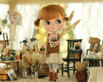 Miss yo 2015 Summer & Autumn - Mori Style Knitted Hollow Pattern Singlet Sweater for Blythe doll - dress / outfit - Brown