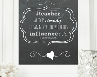 "Instant 8x10 ""Teacher Appreciation Day"" Chalkboard Digital Wall Art Print, Modern Christian Art, Scripture Print, Digital Download"
