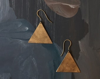 Simple Brass Pyramid Triangle Earrings