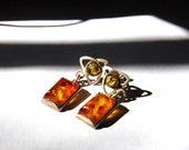Vintage Authentic Natural Amber Earrings - Sterling Silver - Post