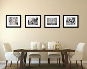 Set of 4 Black and White Vineyard Winery Photography Prints Wine Art Print Kitchen Dining Room Bar Wall Art Modern Prints Grapevines Seasons