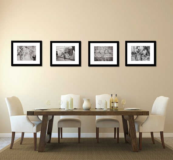 Black And White Wine Wall Decor : Set of black and white vineyard winery photography prints