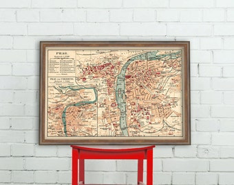 Old map of Prague -  Fine reproduction  of a vintage map  - 16 x 23""