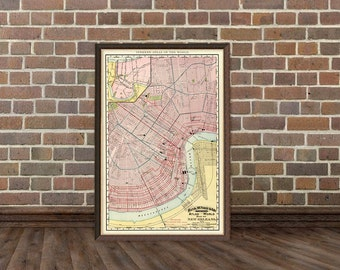 New Orleans map - Old map of New Orleans  - Archival print