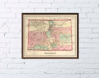 Colorado map - Vintage state map of Colorado  - 1874 PRINT