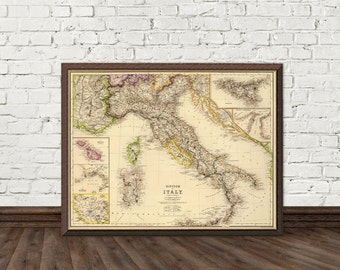 Old map of Italy - Fine print - Historic map restored - Italy map fine reproduction