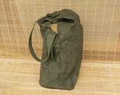Vintage Dark Olive Green Canvas Duffel Bag Travel Bag With A Hook