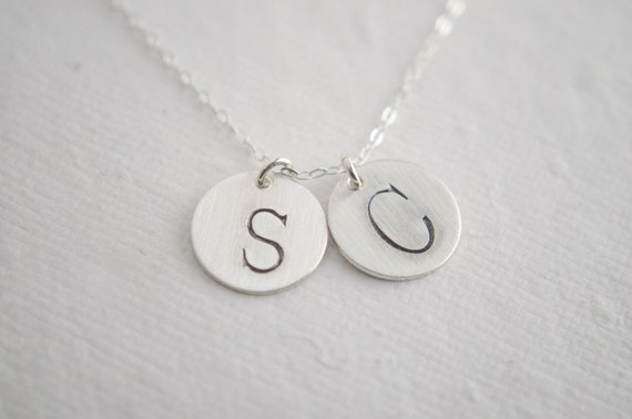 liz lemon necklace sterling silver initial by glasspoppies