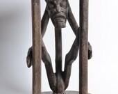 Antique, African Caryatid STOOL, Tribal Art, Figural carving.  Nigeria, Cameroon. Yoruba, Bamileke, Babanki