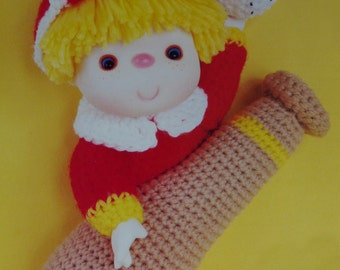 Instant Download PDF Vintage Eighties Popcorn Doll Crochet Pattern
