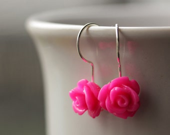 Hot Pink Rose Earrings. Dangle Earrings. Hot Pink Earrings. Hot Pink Flower Earrings. Silver Lever Back Earrings. Flower Jewelry.