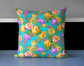"""Flowers Floral Pillow Cover 19"""" x 19"""", Ready to Ship"""