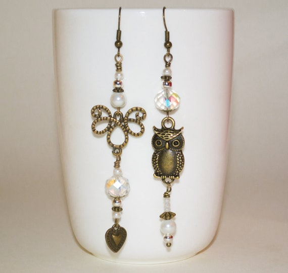Mismatched Earrings, Long Owl Earrings, Eclectic Earrings, Owl Jewelry, Boho Earrings, Kitsch Earrings, Boho Long Drop Earrings, Owl Drops