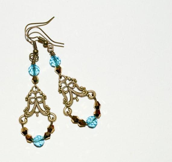 Chandelier Earrings, Aqua Crystal Drop Earrings, Boho Earrings, Ornate Earrings, Long Drop Earrings, Crystal Jewelry, Turquoise Earrings