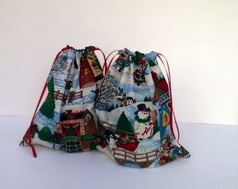 2 Christmas Village Gift Bags Christmas, Upcycled Fabric, Reusable