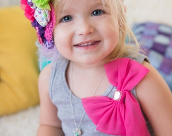 Baby Headband - Hot Pink, Teal, Lime Green, and Bright Purple - Rosette and Satin Flower Headband - Baby Girl - Photo Prop