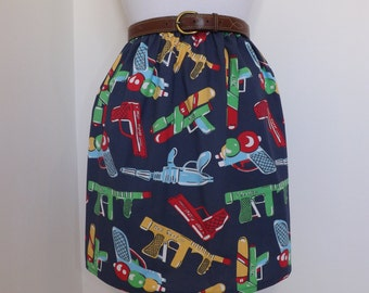 One of a kind handmade high waisted summer skirt made with comic book gun pistol blue fabric