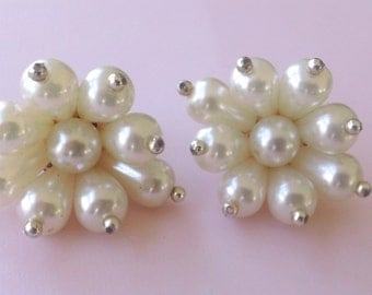Faux Pearl Cluster Earrings Brides Wedding Fashion Retro Mad Men Jewelry