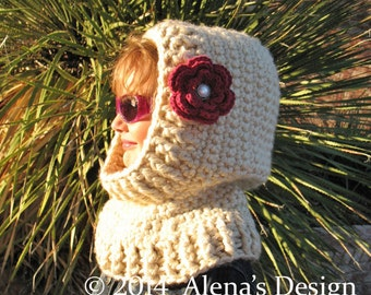Crochet Pattern 113 - Crochet Cowl Pattern - Hooded Cowl Crochet Pattern - Crochet Hood Pattern -Toddler Child Teen Adult Girls Women Winter