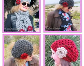 Crochet Pattern 057 - Mary Slouchy Hat Pattern - Toddler, Child, Teen/Adult, Adult sizes Ladies Lace Hat Beret Red Hat Women Slouchy Hat