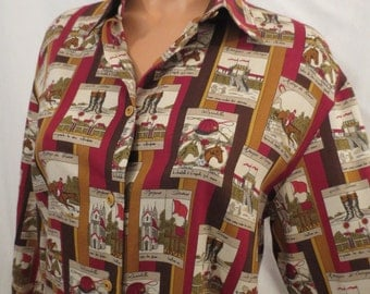 SHOW JUMPING novelty print equestrian blouse - horse shirt - cotton wool Italy size m