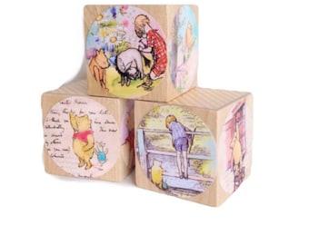 Winnie The Pooh. Baby Shower Decoration. Easter gift. Wood Baby Blocks. Nursery Decor. Under 20 children's gift. Easter gift