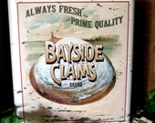 Seafood Canister Restaurant and Nautical Decor Bayside Clams Brand Tin Maryland